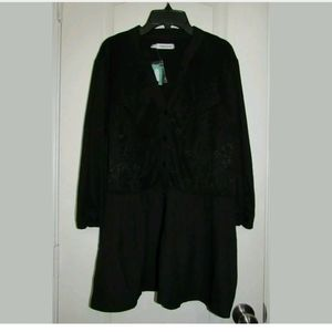 2X NWT Maurices Black Lace 3/4 Sleeve Top
